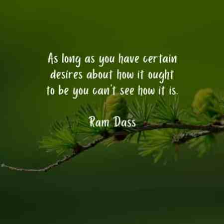 "Image result for As long as you have certain desires about how it ought to be, you can't see how it is."" ~ Ram Dass"